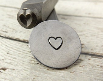 HEART Outline Metal Design Stamp 6mm Heart Design Stamp, Great Stamp for DIY Valentines Day Jewelry, Steel Stamp