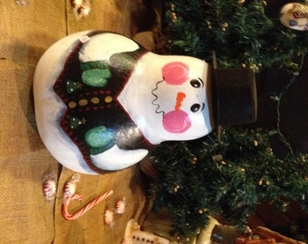 NEW! A Large Hand Painted Gourd Snowman standing 10 inches tall with a top hat