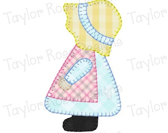 Sun Bonnet Sue Silhouette Applique Machine Embroidery Design 4x4 5x7 Sunbonnet INSTANT DOWNLOAD