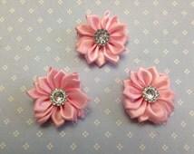 "1.5"" Light Pink Mini Satin Flowers  with Rhinestone Center - 3 Pieces-Baby Headband-Girl-Applique-Clippie-Broch"