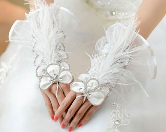 Exquisite Fingerless Tulle with Rhinestone and Feather Bridal Glove (637)