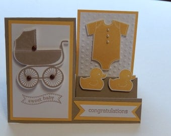 3-D Baby Card with Carriage, Onesie and Rubber Ducks