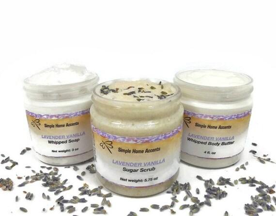 Lavender Vanilla Bath and Body Gift Set - Whipped Soap, Sugar Scrub ...