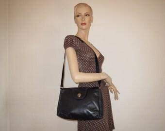 Vintage shoulder bag black gold leather