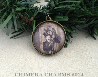 A Christmas Carol Bob Cratchit and Tiny Tim Christmas Tree Ornament in Antique Bronze