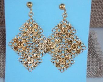 Gold Plated Link Dangle Earrings
