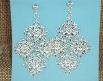 Silver Plated Link Dangle Earrings