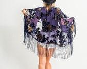 Velvet Fringe Kimono | Purple Floral