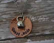 "Hand Stamped ""Beast Mode"" Kettle Bell  Necklace Jewelry Personal Trainer, Workout, Fitness, Exercise, Weightlifting"
