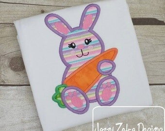 Girl Bunny with Carrot 56 Applique Design