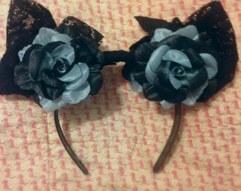 Black/grey flower headband