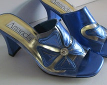 SALE Prom Sandals Amanda Royal Blue and Clear Heeled Sandals size 6.5 M Blue Sandals Clear Shoes Prom Shoes