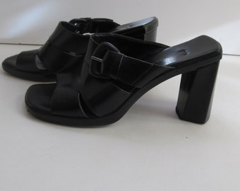 Black Chunky Heel  shoes sz 6 Black Leather Shoes Retro 90s Designer Shoes Enzo Angiolini sz 6 Black shoes