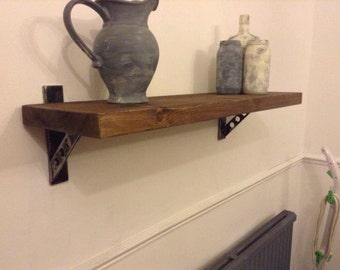 Reclaimed Scaffold Board Shelf with Unique Handmade Solid Steel Brackets