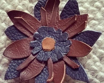 Leather flower brooch