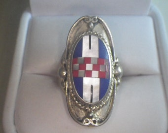 Vintage Sterling Silver Ornate Inlay Ring