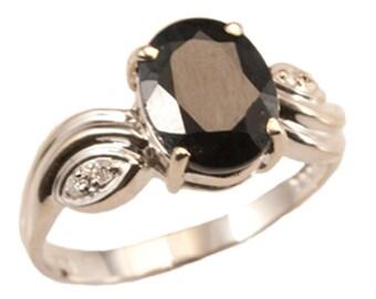 Sapphire Diamond Ring, Sapphire Gold Ring, Deep Blue Sapphire Diamond Ring. Gevani Jewelry