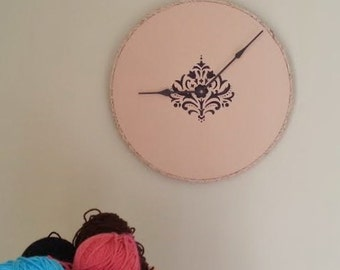 "15-1/4"" Unique Handcrafted Wall Clock - Black Damask with a Braided Twine Border"