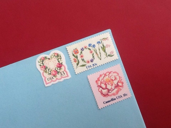 50 sets of floral wedding stamps enough postage for 2 ounce for Wedding invitations 50 cents each