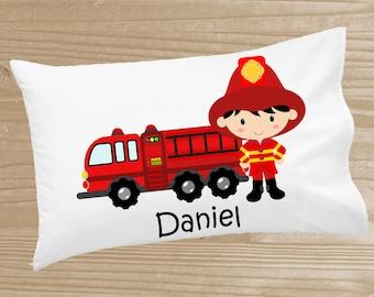 Personalized Kids' Pillowcase - Firefighter Pillowcase for Boys - Fire Engine Pillow Case - Custom Fire Truck Pillow Slip