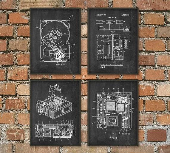 Computer Geek Wall Art Poster Set Of 4 No 2 By Quantumprints