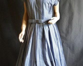 1960s Gingham Blue White David Crystal swing Dress Sz 8
