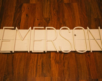 handcrafted custom name on wood - emerson