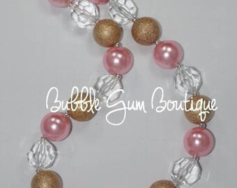 Pink and Gold Bubble Gum Necklace