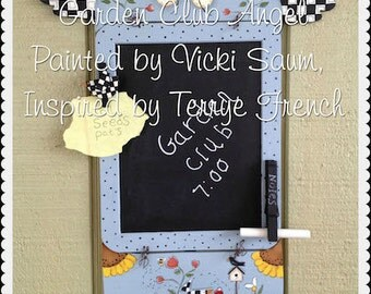Garden Club Memo Angel, email painting pattern packet by Vicki Saum, Painting With Friends
