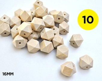 10 Geometric Natural Unfinished Wooden Beads 16mm