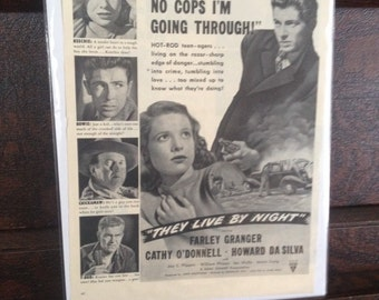 They Live By Night (1948) Vintage Movie Ad