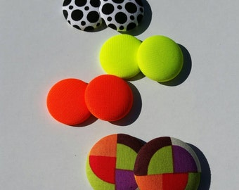 Bright Colors - Fabric Button Earrings