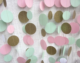 Pink, Gold Glitter, and Mint Paper Circles Garland,  Wedding, Baby Shower , Photo Prop, Bridal Shower, Shabby Chic