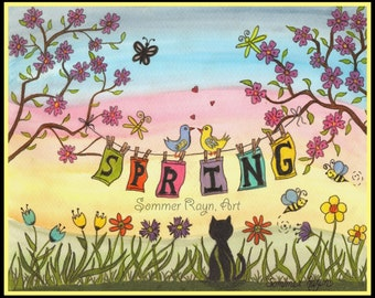 Time to celebrate Spring, a beautiful cat hanging out spring laundry, a whimsical portrait, card or print,  Watercolor, Item #0314a
