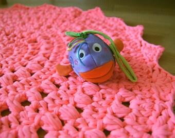 Pink Rug, Crochet Rug, Doily Rug, Round Rug, handmade Rug, Neon pink rug