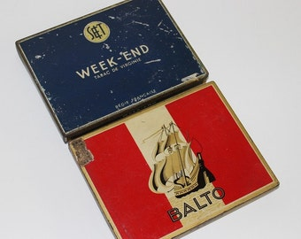 2 Vintage old tin box for cigarettes BALTO / WEEK-END France // Instant collection  // vintage tin box // B441