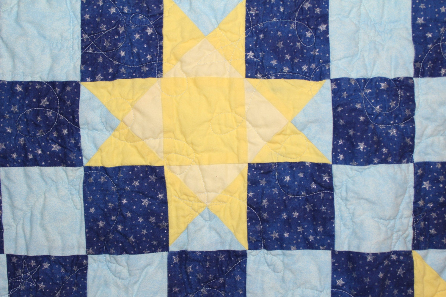 Quilted Wall Hanging, Star and Block Quilt, Baby Boy Decoration ...
