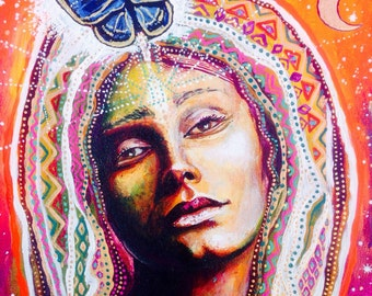 Copper Moon Cosmic Star Galaxy Goddess visionary art by Isabel Bryna