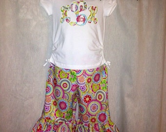 "Spring Girls Monogrammed ""Raggy"" Capri Outfit, Personalized Initials, Bright Colors, Ruffle Pants"