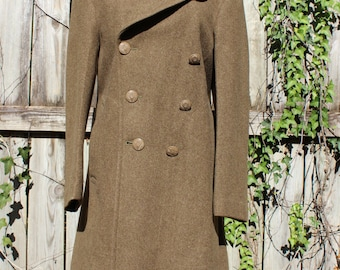 vintage WWII military wool coat/wool military peacoat/long wool coat