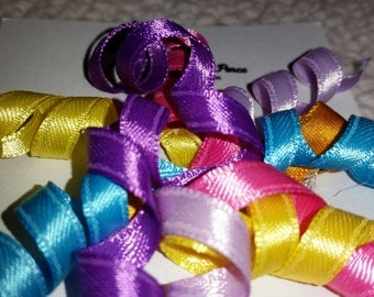 Bright Colored Curly Ribbon Hair Clip