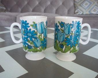 Set of 2 Vintage Smug Mugs Dutch Garden