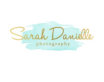 Pre-made Logo Design & Photography Watermark - Watercolor logo - Gold Logo - Blog Header - Watermark Design - Photography Logo  630