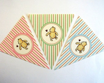 Winnie the Pooh Banner, Baby Shower, Birthday Party, Blue, Pink or Green