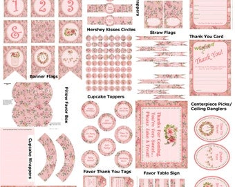 DIY Shabby Chic Birthday Party, Printable Shabby Chic Party Supplies, Shabby Chic Party Ideas, DIY Pink Vintage Party - By Printables 4 Less