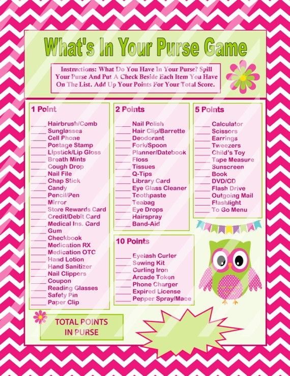 Whats In Your Purse Game Bag Mommys Adult Birthday Games Group Party