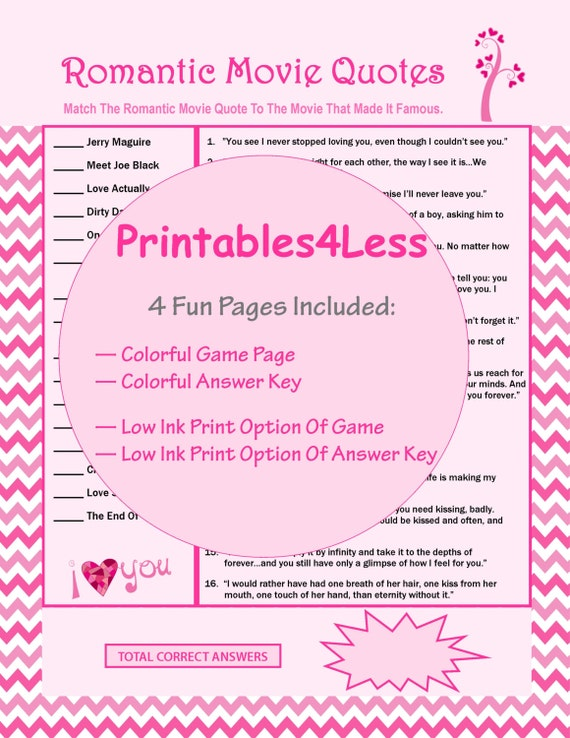 Romantic Movie Quotes Game, Printable Games For Valentines Party, Love  Movie Trivia Game, Fun Party Games For Adults   By Printables 4 Less