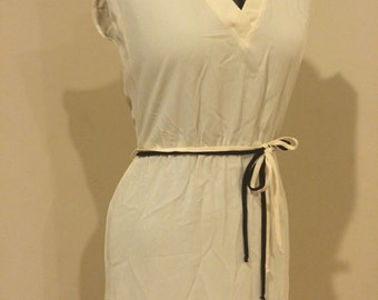 Vintage 1970's Classy White Disco Godess Dress Rockabilly Pin Up