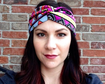 Purple Aztec Fabric Headwrap Headband OR Turban OR Knot Headband