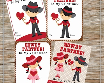 INSTANT DOWNLOAD - Printable Cowboy/Cowgirl Valentine Cards